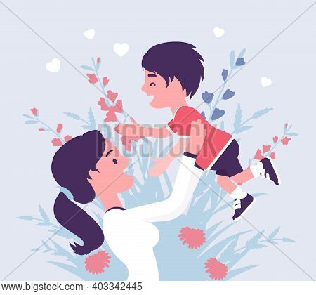 Mom And Baby Son, Female Health In Happy Family. Mother Tossing Child, Emotional Bonds, Love, Mother