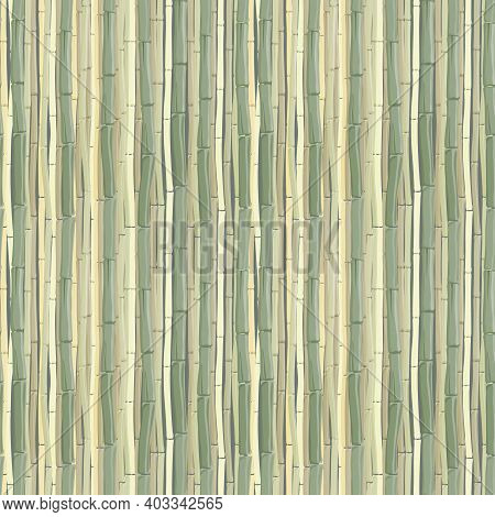 Bamboo Stems Or Mat, Seamless Pattern In Monochrome Shades Of Green. Vector Illustration With Textur