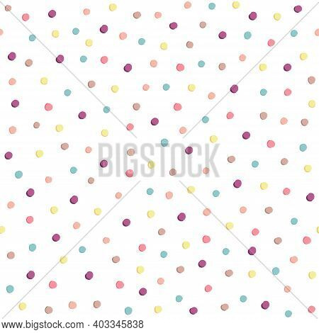 Seamless Pastel Pattern With Polka Dots In An Abstract Style On A White Background. Colored Pattern,