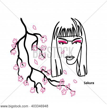 Eye Shadow Simple Promotional Vector Poster. Beautiful Girl With Pink Makeup, Eyeshadow. Sakura Bloo