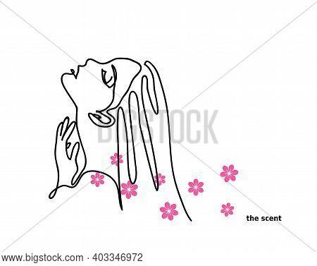 Scent, Flavor, Eau De Toilette Promotional Vector Banner. Woman, Girl Profile, Contour. Flower Scent