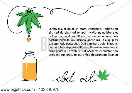 Cbd Oil Drop, Bottle, Hemp Or Cannabis Leaf. One Line Vector Illustration. Oil With Cannabidiol Back