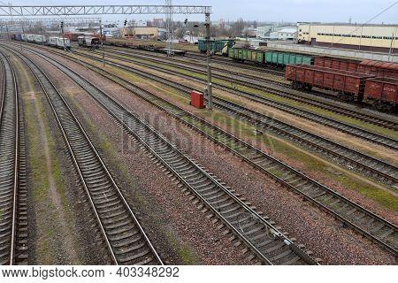 Railroad Tracks With Wagons. Railroad Station. Transport
