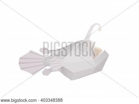 Polygonal White Angry Deep-sea Angler Fish With Sharp Teeth, 3d Illustration