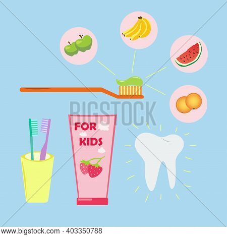 Children's Toothpaste Tubes And Toothbrush Set. Dental Care For Children. Toothpaste With Different