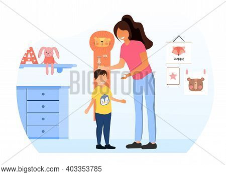 Female Character Is Measuring Child S Height. Little Kid Standing Near Measurement Wall. Concept Of