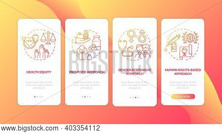 Health Programs Principles Onboarding Mobile App Page Screen With Concepts. Human Rights Based Appro