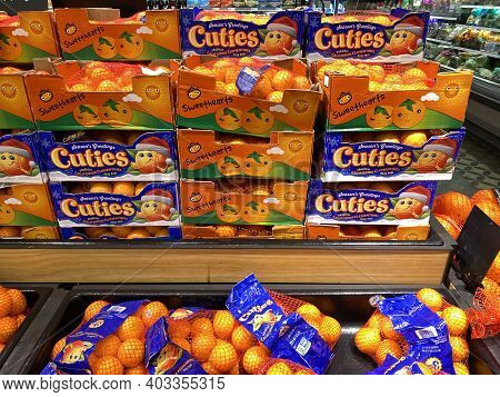 Forest Lake, Minnesota - December 22, 2020: Display Of Cuties Mandarin Oranges On Sale At A Target G