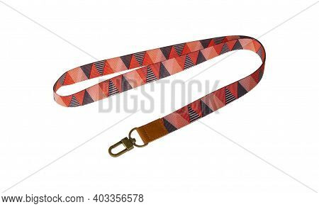 Colorful Lanyard With Chrome Metal Hook For Employee Card Or Keys Isolated On White Background.