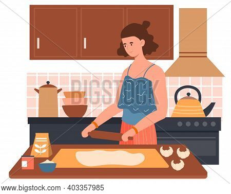 Cheerful Female Character Preparing Dough Use Rolling Pin In The Kitchen. Happy Woman Is Cooking Cro