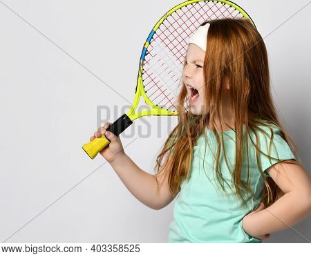 Angry Evil Girl Big Tennis Player Headshot Studio Portrait Isolated On White. Furious Sportive Child
