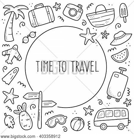 Hand Drawn Set Of Travel Summer Vacation Elements, Luggage, Map, Suitcase, Sea Star. Doodle Sketch S