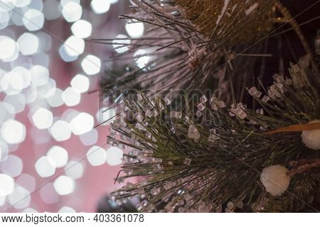 Christmas And New Year Holiday Background. Close-up Of A Christmas Tree In The Snow Against A Backgr
