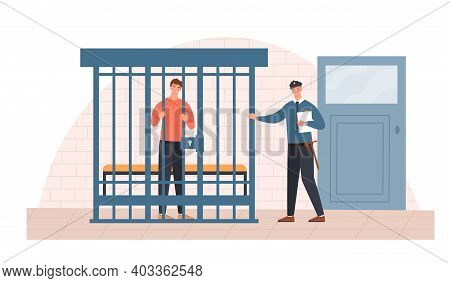 Male Police Officer Is Talking To A Prisoner. Sentenced Man Is Standing In A Cage Trying To Bail Him