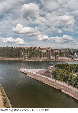 Aerial Drone Shot Of Deutsch Eck Headland By Rhine Mosel River In Koblanz Germany