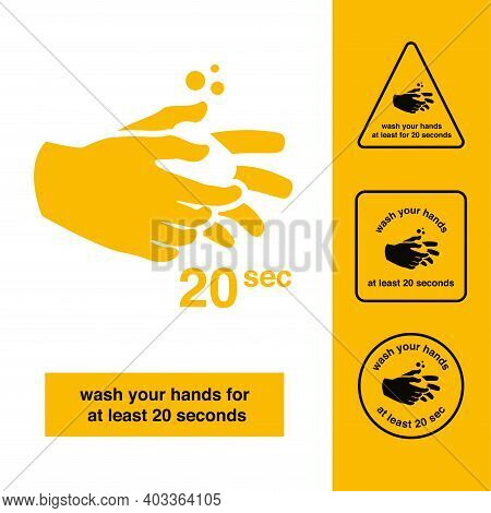 Washing Hands Icon Or Sign. Hands Are Holding Soap. Wash Your Hands Wash Your Hands At Least For 20