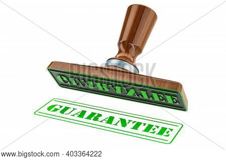 Guarantee Stamp. Wooden Stamper, Seal With Text Guarantee, 3d Rendering Isolated On White Background