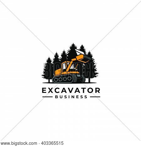 Stylized Excavator Excavation Icon, Emblems And Insignia With Text Space For Your Slogan