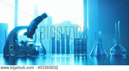 Test Tubes And Optical Microscope. 3d Illustration. Laboratory Instruments, With Back Light And Dept