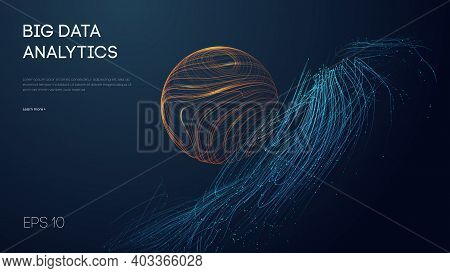 Big Data Analytics Abstract Vector Background. 3d Vector Sphere Data Stream In Abstract Style. Abstr