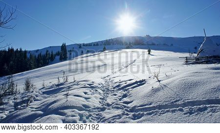 Snow-covered And Sun-drenched Lawn With Clear Snow With Rare Footprints And Shadows On The Snow And