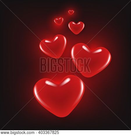 Valentine's Day Background With Heart Shape And Light Bokeh Glowing .