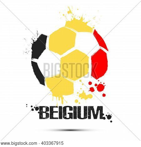 Soccer Ball With Belgium National Flag Colors