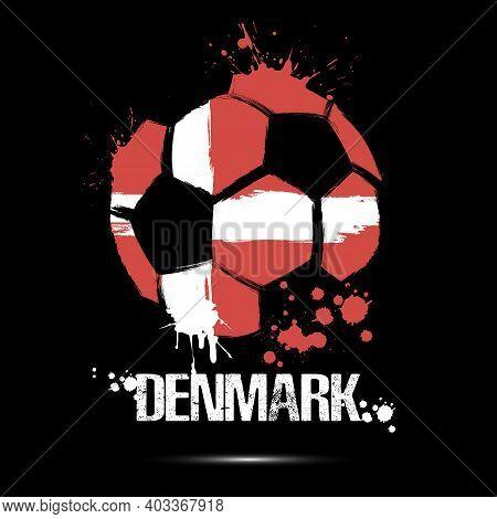 Soccer Ball With Denmark National Flag Colors