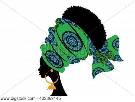 Portrait Beautiful African Woman In Traditional Turban Handmade Tribal Motif, Green Kente Head Wrap
