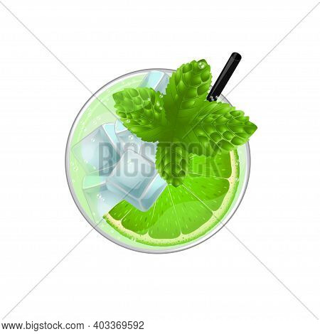 Mojito Cocktail With Lime, Mint And Ice Top View. Cold Alcoholic Or Non-alcoholic Long Drink. Vector
