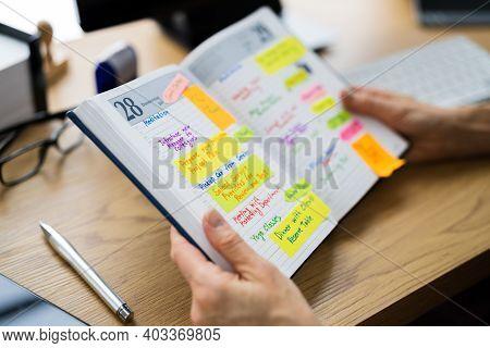 Business Diary Agenda List And Meeting Calendar