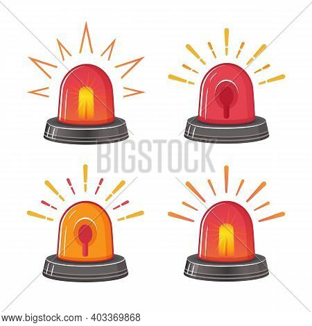 Emergency Red Siren Icon Set. Ambulance Or Police Flasher. Special Alarm Fire Siren. Rotating Lamp W
