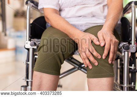 Senior Woman Suffering From Arthritis Disease,elderly Women Hands Massage Knee,osteoarthritis