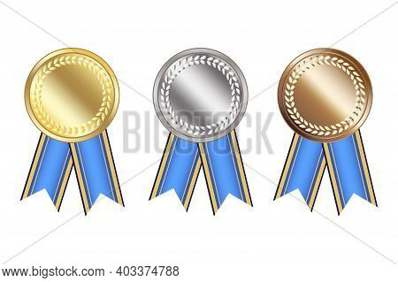 Blank Medals For Celebration Design. Gold, Silver And Bronze Medals With Blue Ribbons. Stock Image.