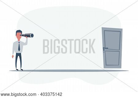 Businessman Standing In Front Of The Exit. Businessman Looking In Future. Man Using Telescope Lookin