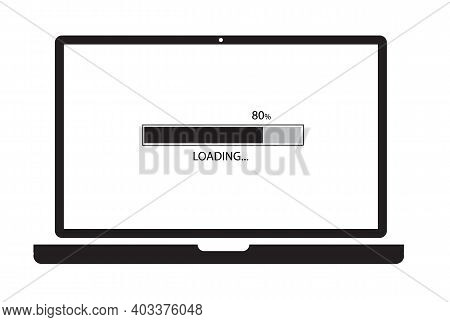 Loading Process In Laptop Screen On White Background. Update Computer System Sign. System Software U