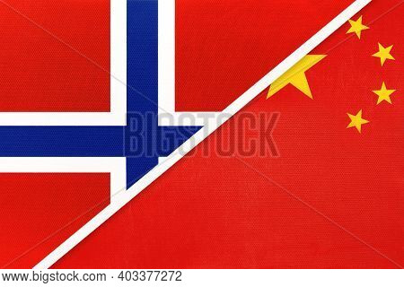 Norway And China Or Prc, National Flags From Textile. Relationship, Partnership And Match Between Tw