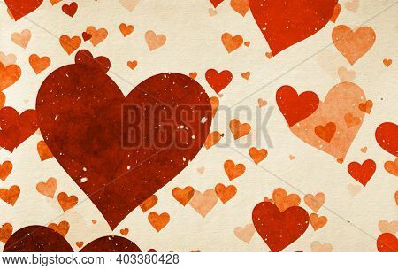 Valentine's day vintage background with hearts on old paper texture