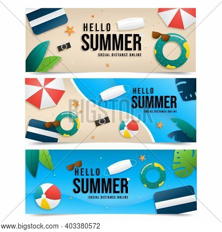 Summer Sale Vector Banner Set Online Social Distance Design With Text Hello Summer In Colorful Backg