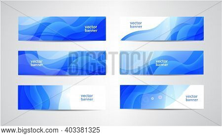 Vector Abstract Flow Wavy Banners Set. Water, Stream, Energy Stream Horizontal Backgrounds. Wave Liq