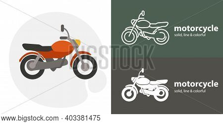 Motorcycle Isolated Tool Flat Icon With Motorcycle Bike Solid, Line Icons