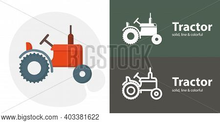 Tractor Isolated Tool Flat Icon With Tractor Solid, Line Icons
