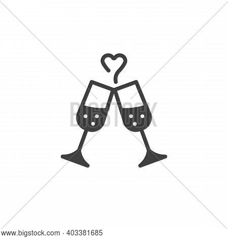 Champagne Glasses Cheers Vector Icon. Filled Flat Sign For Mobile Concept And Web Design. Champagne