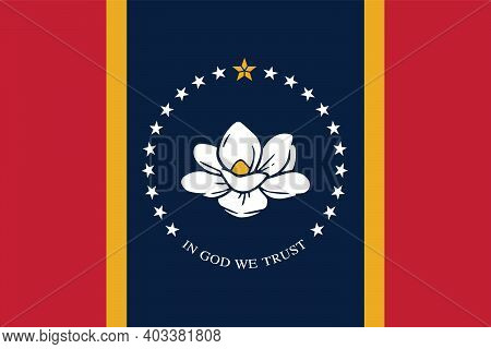 New Flag Of Mississippi - State Of United States For Your Design