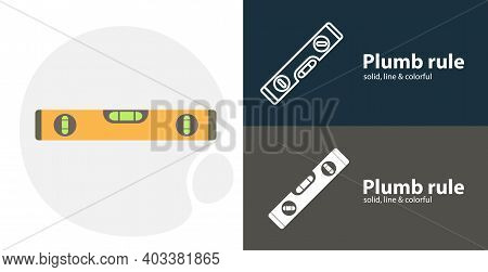 Plumb Rule Isolated Tool Flat Icon With Plumb Rule Solid, Line Icons