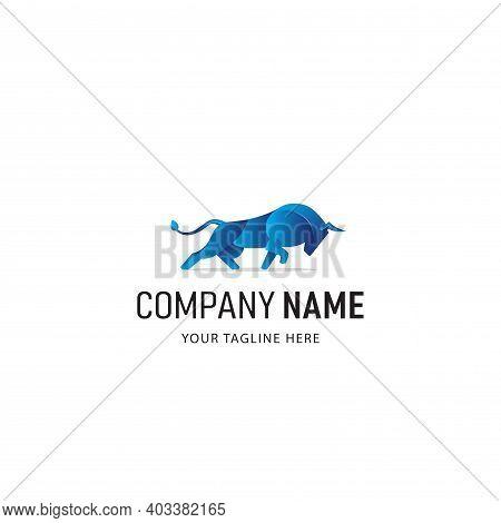 Bull Logo Design Or Taurus Logo Mascot. Blue Bull Logo Vector
