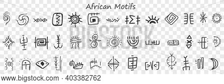 African Motives And Patterns Doodle Set. Collection Of Hand Drawn Stylish Oriental Pattens Signs And