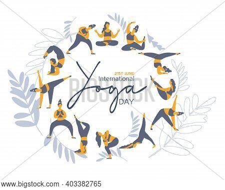 21 June- Illustration Of International Yoga Day. Banner. Vector Illustration Yoga Exercises. Women S