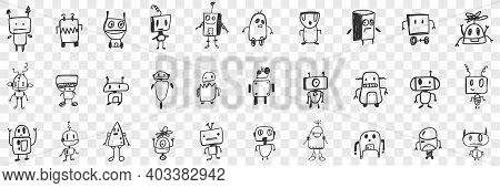 Various Smart Robots Doodle Set. Collection Of Hand Drawn Cute Electronic Robots With Human Heads In