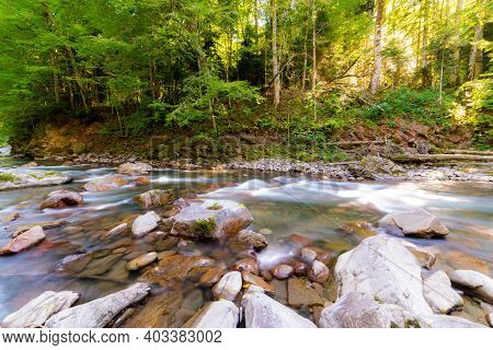 Mountain River In Forest. Water On A Stones